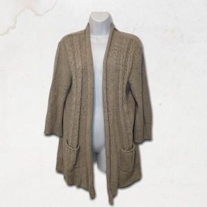 Taupe Fabric 3/4 Sleeves Sweater With Pockets
